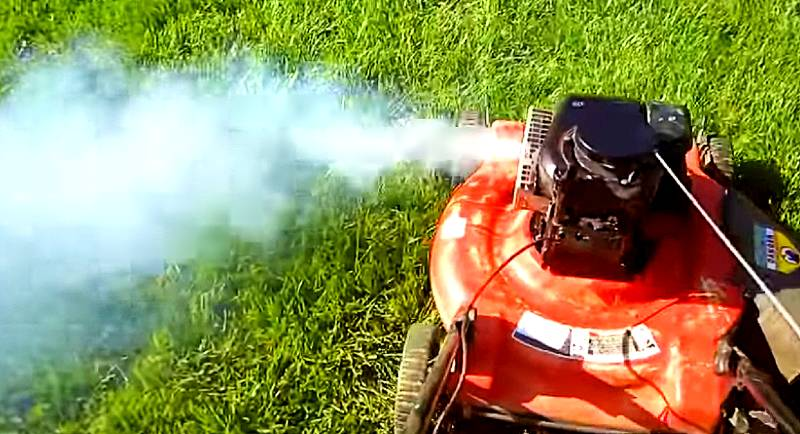 Lawn Mower Smoking and Leaking Oil from Exhaust