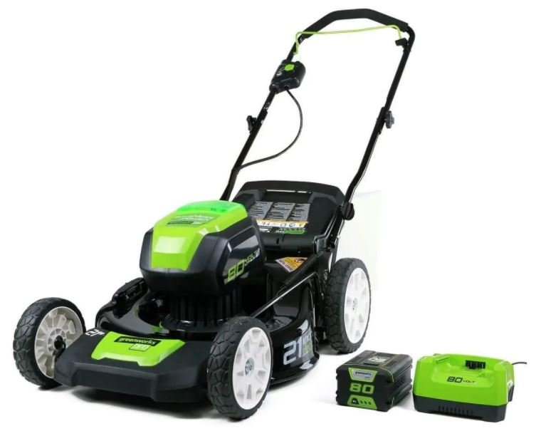 Greenworks GLM801601 - 2nd best mower for push rough train